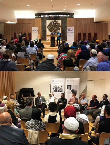 Jewish and Muslim participants at Alyth Synagogue's Iftar
