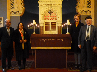 From left to right: Jani Rashid, Synagogue Council member; Naz Shah,  MP; Susan Hinchcliffe, Leader of Bradford Metropolitan Council, Rudi Leavor, Synagogue Chairman.