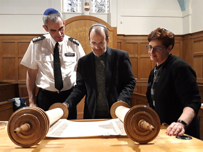 Chief Constable with Rabbi and Chair of Radlett Reform Synagogue