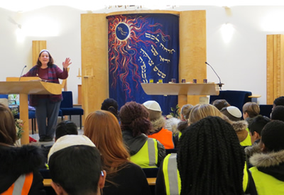 children from primary and secondary schools in Redbridge and Barking and Dagenham at South West Essex & Settlement Reform Synagogue taking part in Holocaust Memorial Day programmes.